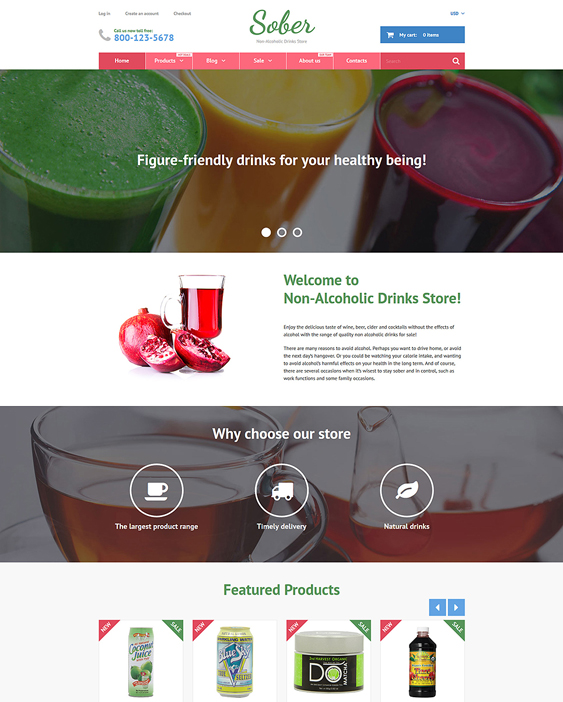 sober food drink shopify themes