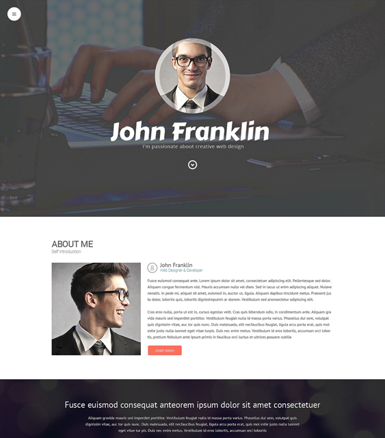 designer resume cv wordpress themes