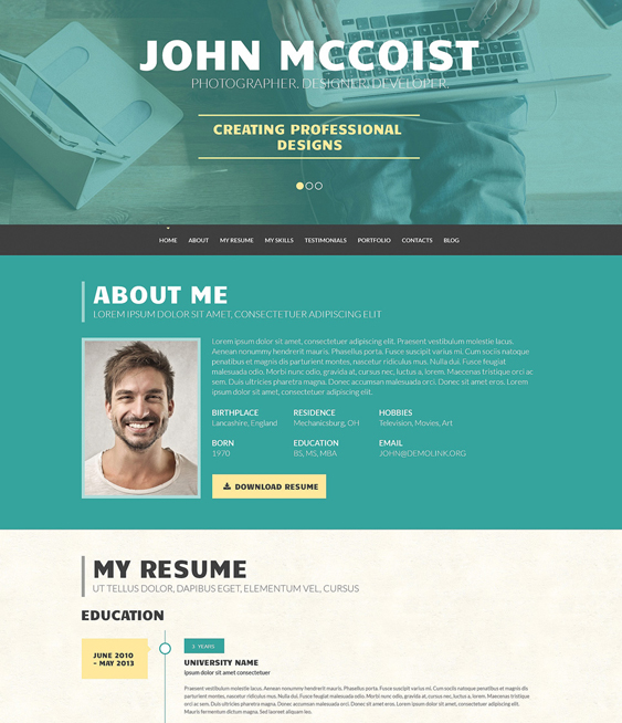 persuasive resume cv wordpress themes