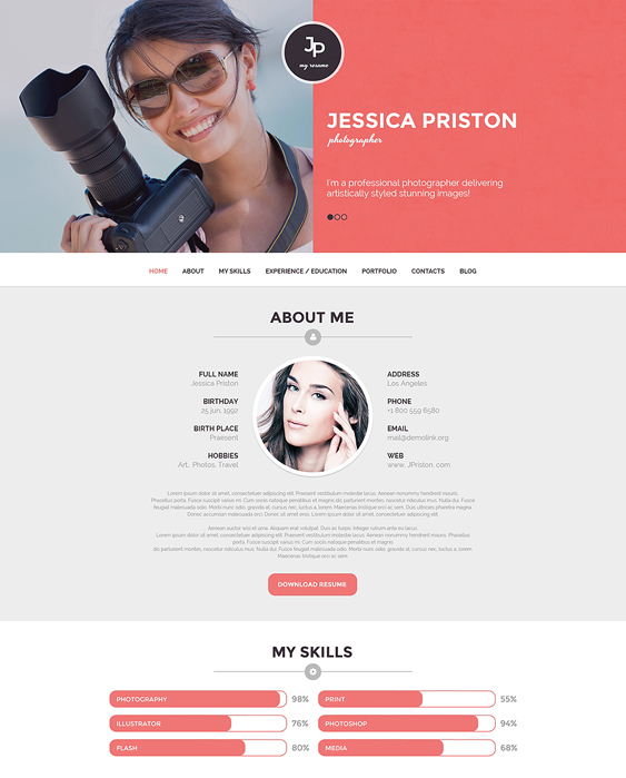 photographer resume cv wordpress themes