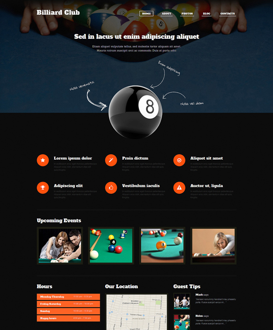 billiard dark wordpress themes