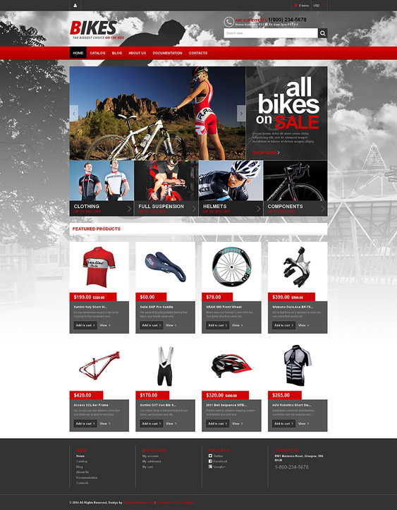 shopify themes selling bikes cycling gear