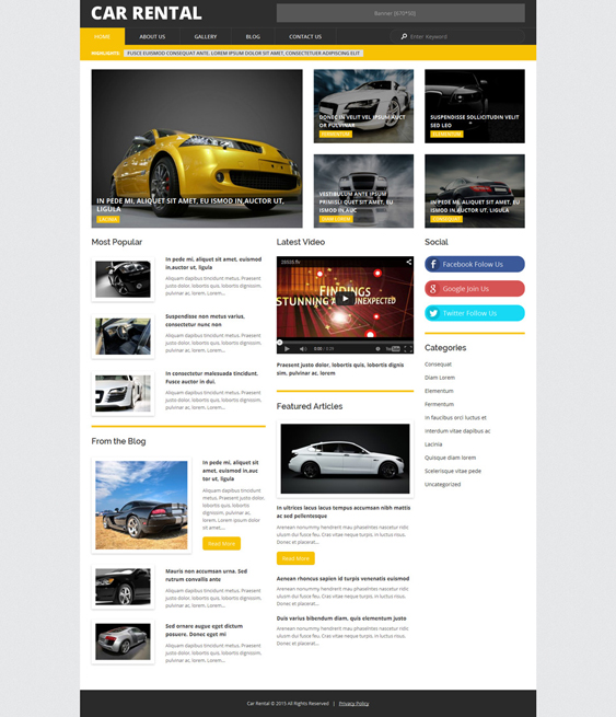 car vehicle automotive wordpress themes rental