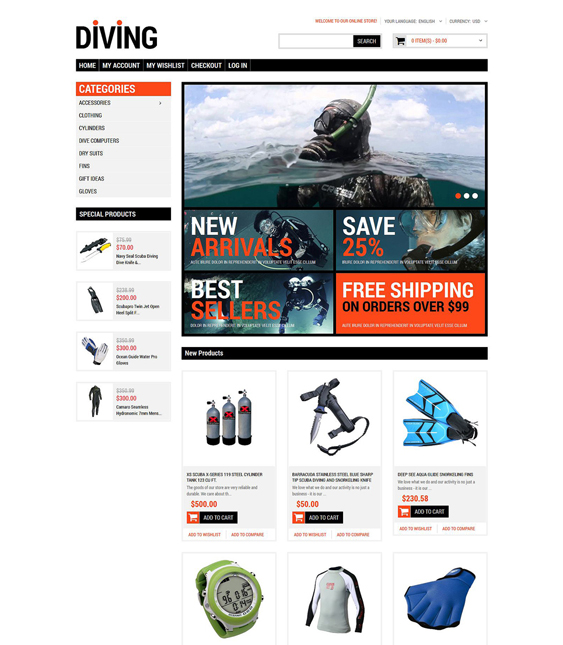 diving sports fitness magento themes