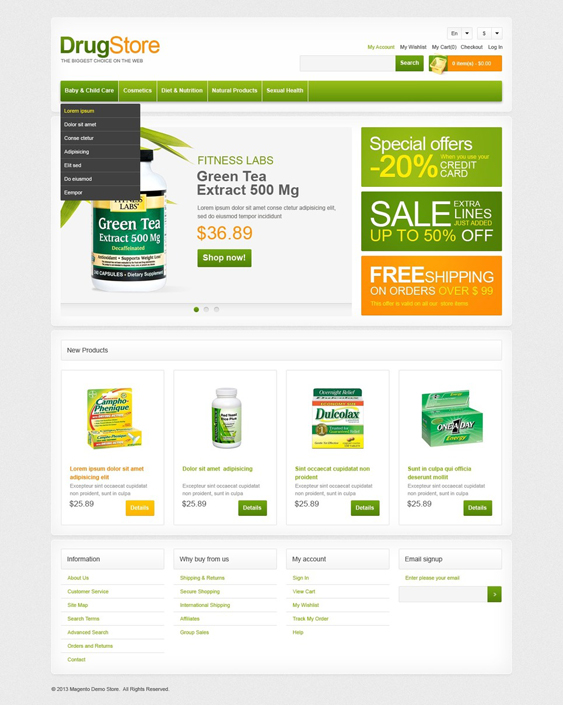 drug store6 medical magento themes