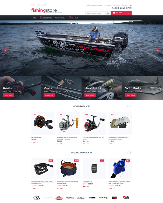 fishing sports fitness magento themes