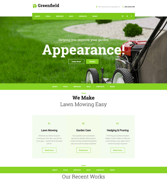 greenfield gardener landscaping wordpress themes
