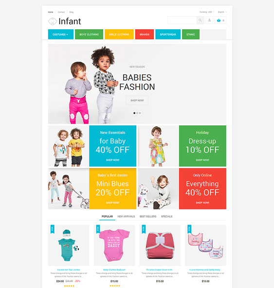 infant clothing kids prestashop themes