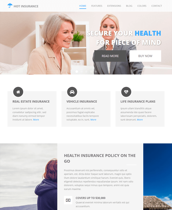 insurance clean joomla templates