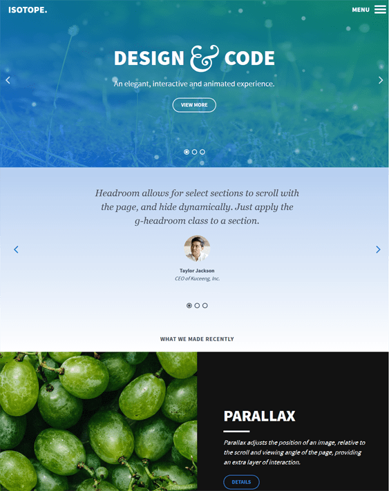 isotope parallax wordpress themes