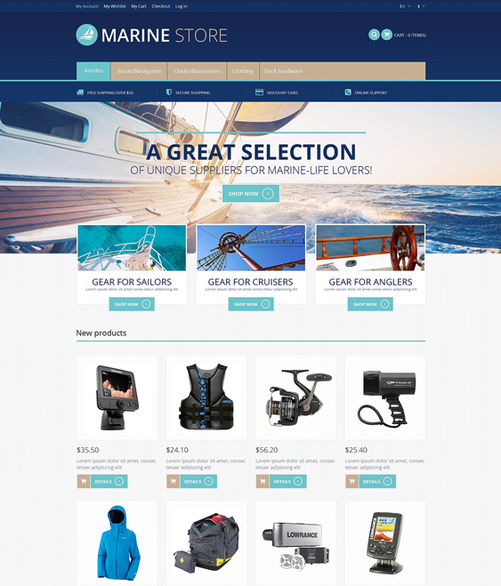 marine store sports fitness magento themes