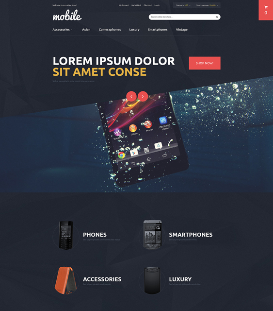 mobile dark magento themes