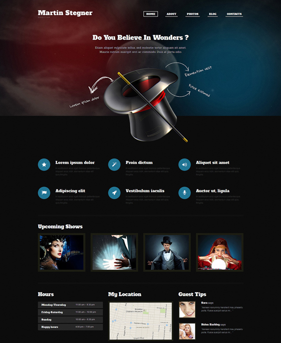 personal page dark wordpress themes