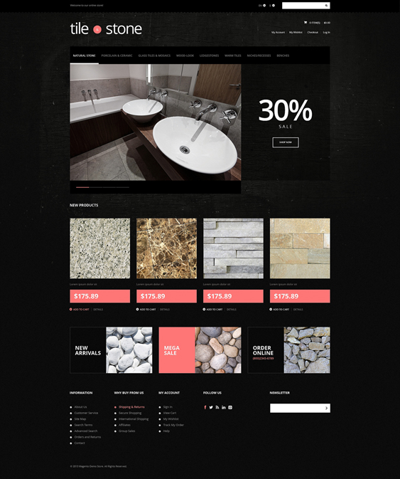 tile stone dark magento themes