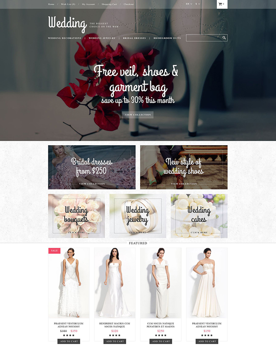 wedding opencart themes store