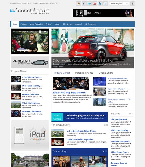 financial joomla templates news