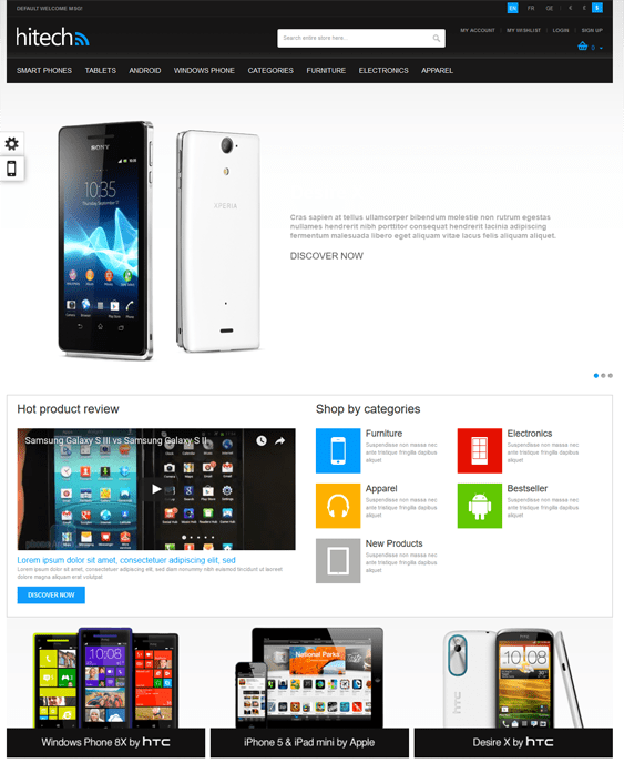 gala high tech magento themes electronic stores