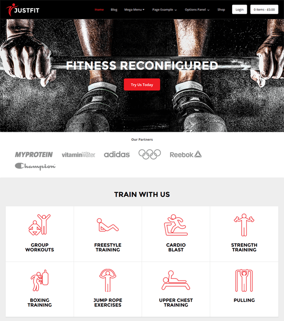 justfit fitness gym wordpress themes