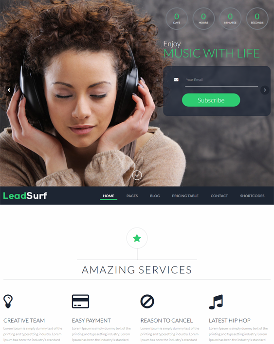 leadsurf landing page wordpress themes music