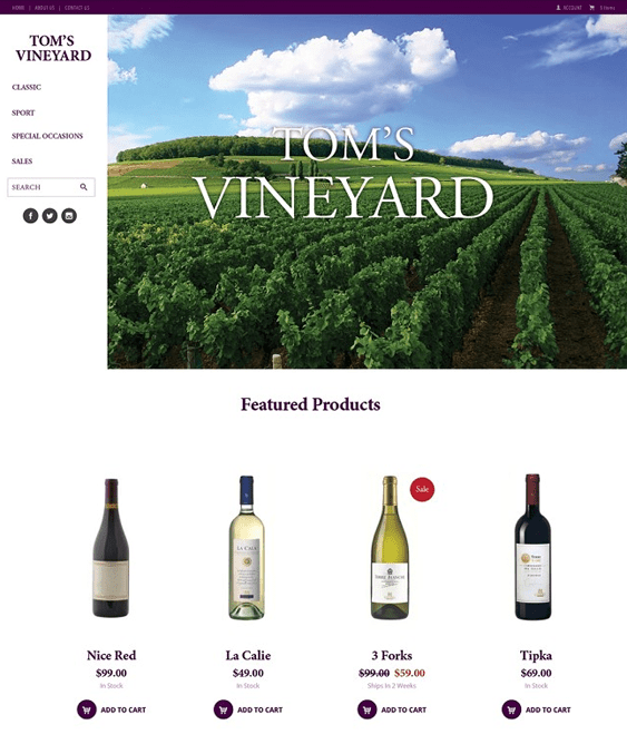 vineyard free clean 3dcart themes
