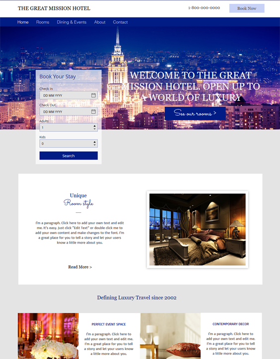 city free hotel wix templates