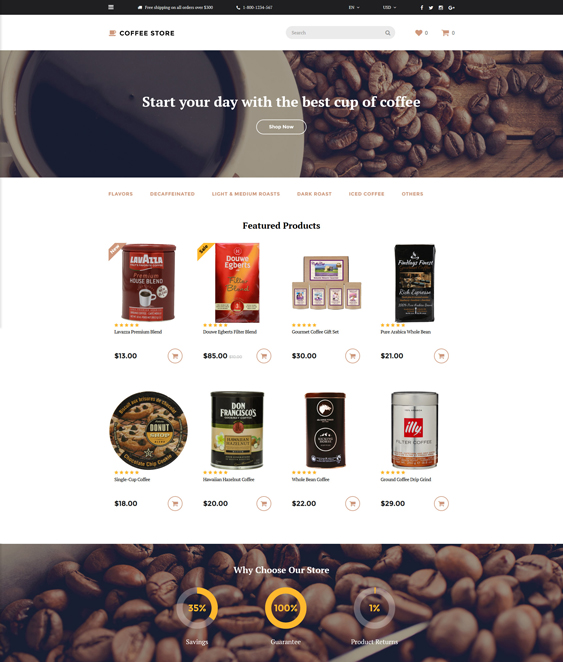 coffee store food drink restaurant opencart themes