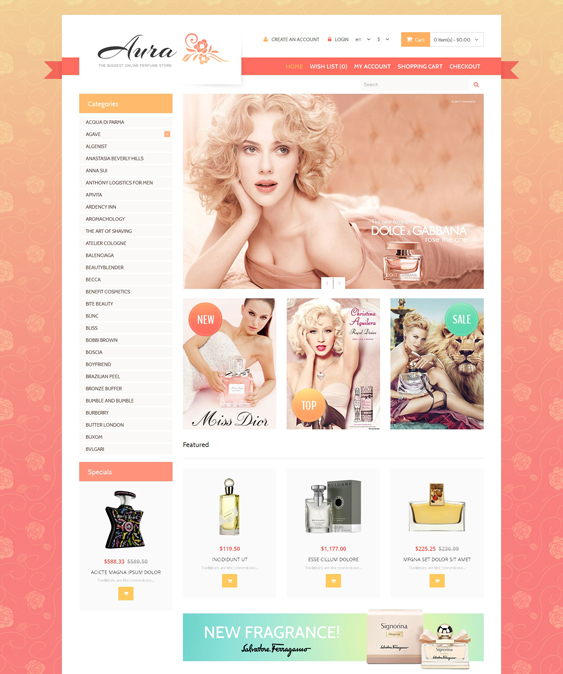 beauty products cosmetics hair care perfumes opencart themes