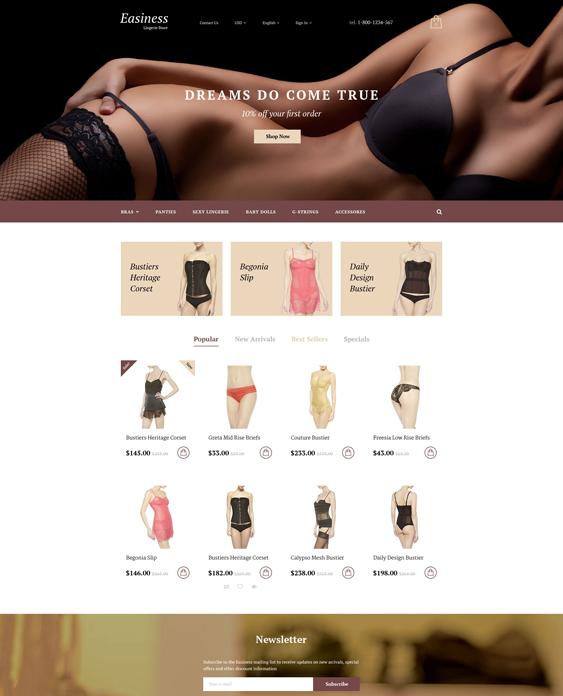 easiness lingerie prestashop themes