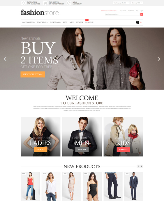 fashion store minimal magento themes