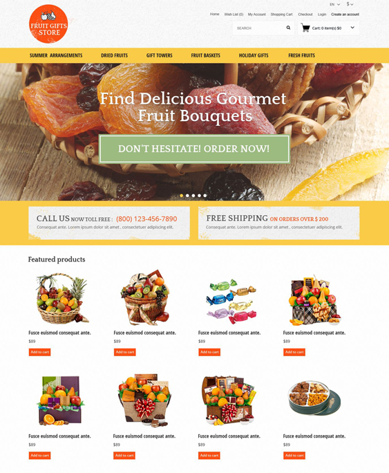 fruit food drink restaurant opencart themes