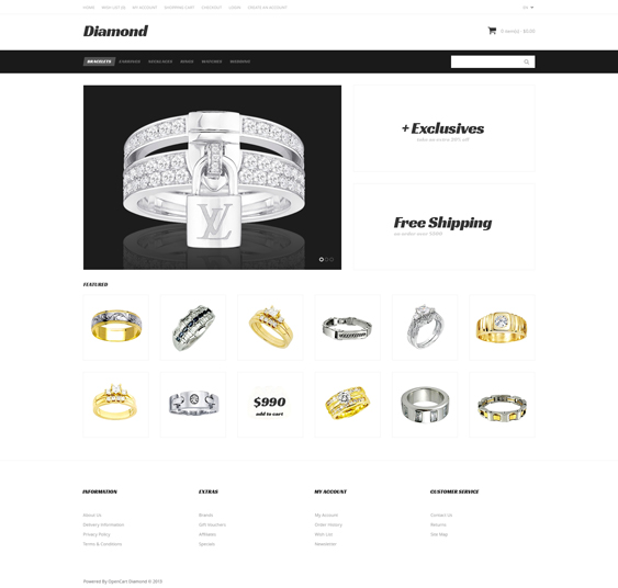 just diamond jewelry watch opencart themes