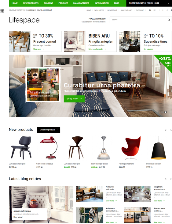 furniture lifespace home decor interior design opencart themes