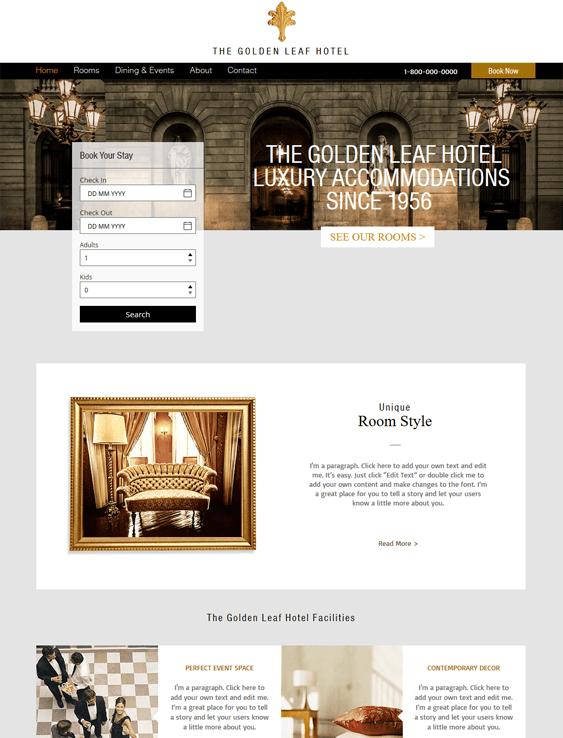 luxury free hotel wix templates