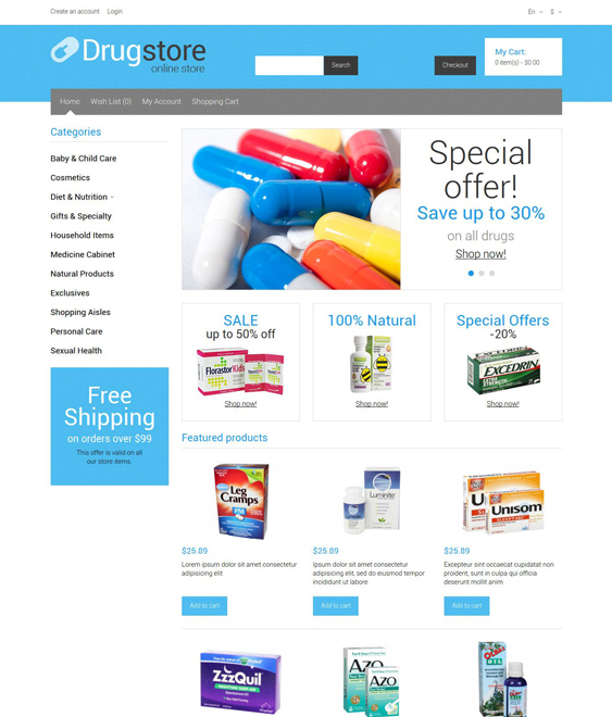 medical health opencart themes supplies