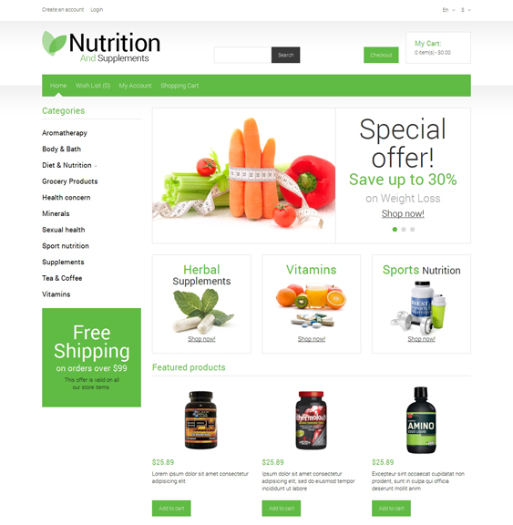 nutrition medical health opencart themes
