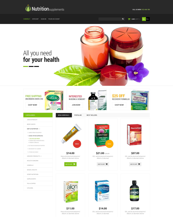 nutrition medical prestashop themes
