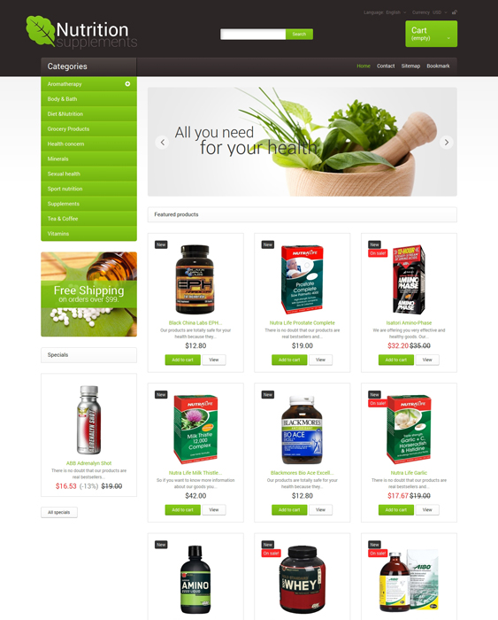 nutrition supplements medical prestashop themes