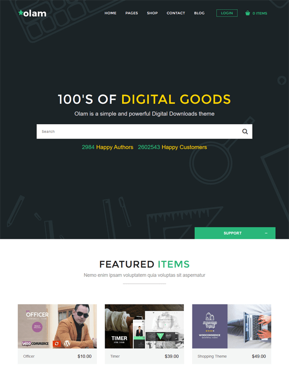 olam easy digital downloads wordpress themes