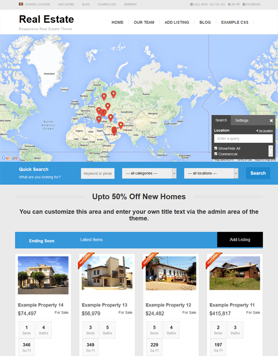 real estate map wordpress themes