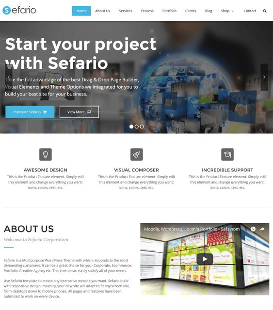 sefario parallax wordpress themes