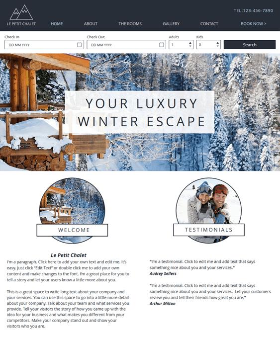 ski chalet free hotel wix templates