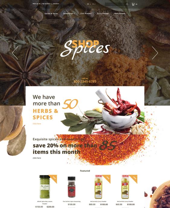 spices food drink restaurant opencart themes
