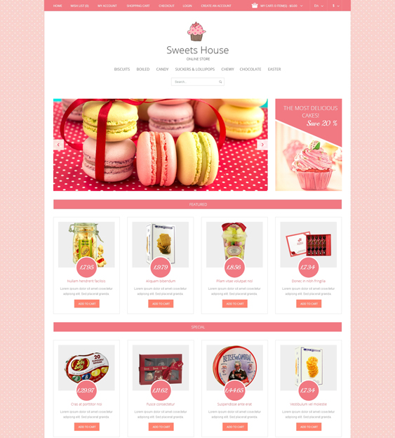 sweet shop food drink restaurant opencart themes