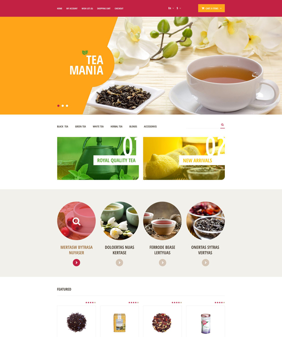 tea mania food drink restaurant opencart themes