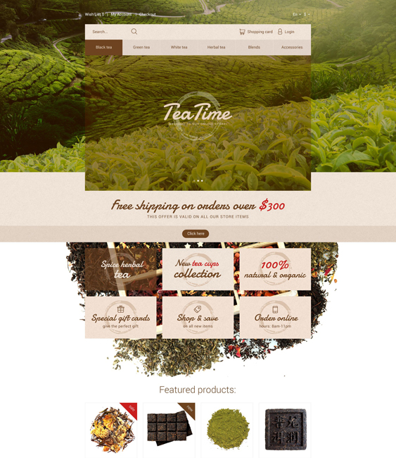 tea time food drink restaurant opencart themes