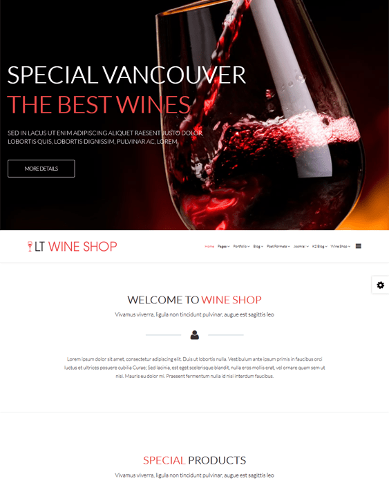 wine shop hikashop themes