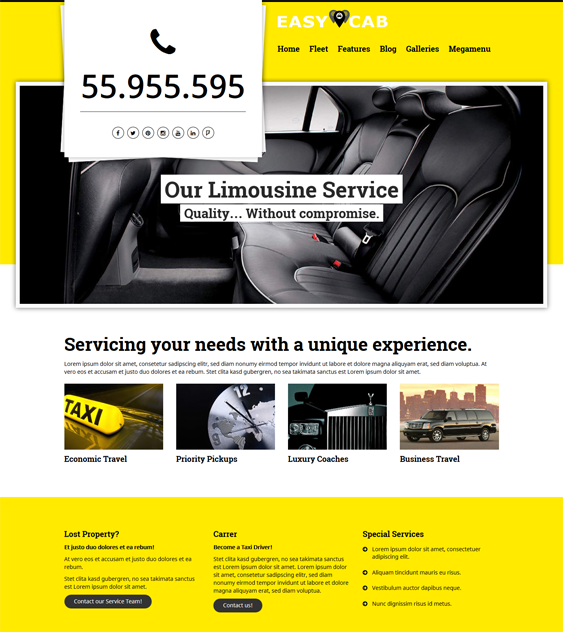 easycab Taxi cab Services WordPress Theme