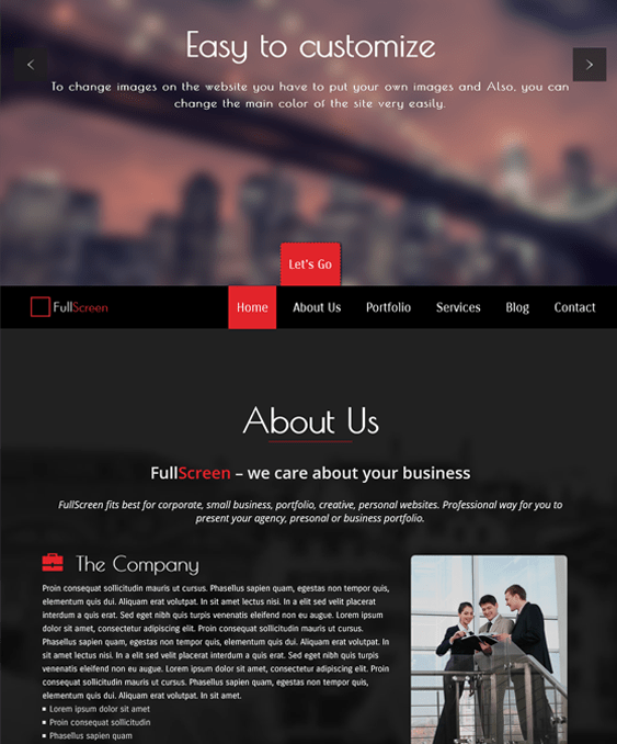 fullscreen dark wordpress themes