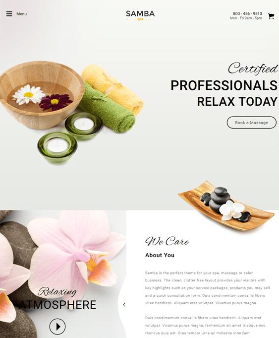 samba spa salon wordpress themes
