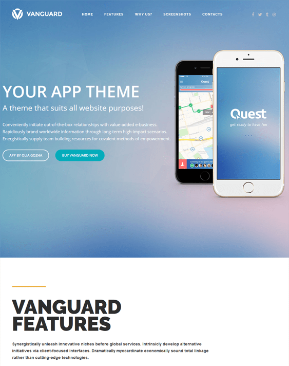 vanguard wordpress themes for promoting apps